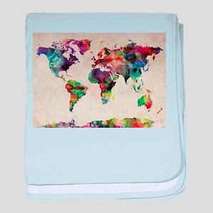 World Map Urban Watercolor 14x10 baby blanket