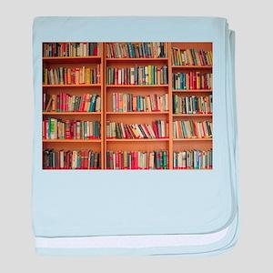 Bookshelf Books Library Bookworm Read baby blanket