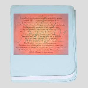 Psalm 91 Orange Script baby blanket
