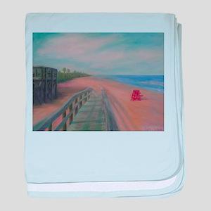 THE BEACH AT FLAGLER BEACH baby blanket