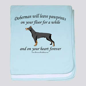 Doberman Pawprints baby blanket