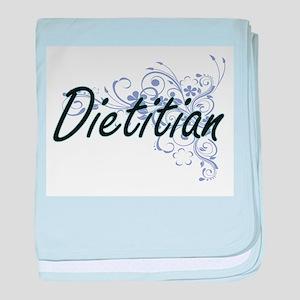 Dietitian Artistic Job Design with Fl baby blanket