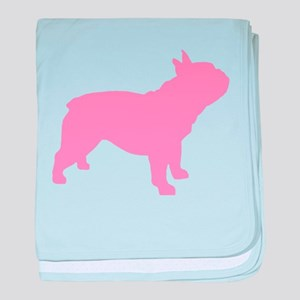 Pink French Bulldog baby blanket