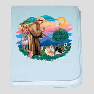 St.Francis #2/ Pomeranian(3) baby blanket