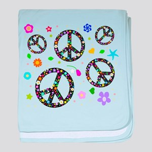 Peace symbols and flowers pat baby blanket
