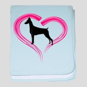 Heart My Doberman baby blanket