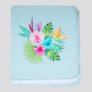 Watercolor Tropical Bouquet 3 baby blanket