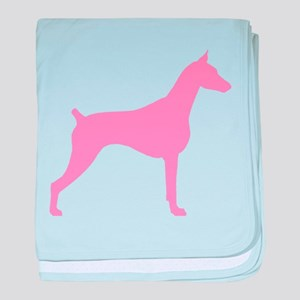 Pink Doberman baby blanket