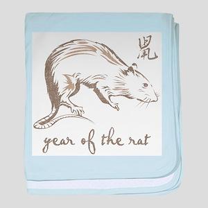 Vintage Year Of The Rat baby blanket