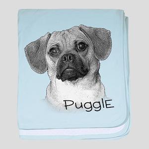 Perfect Puggle Portrait baby blanket