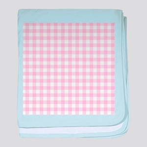 Gingham in pink baby blanket