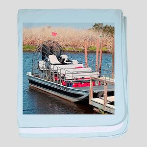 Florida swamp airboat baby blanket