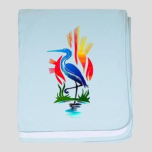Blue Heron Sun and Marsh baby blanket