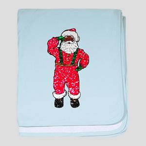 glitter black santa claus baby blanket
