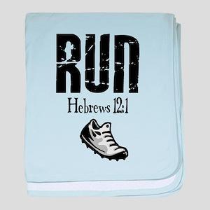 run hebrews baby blanket