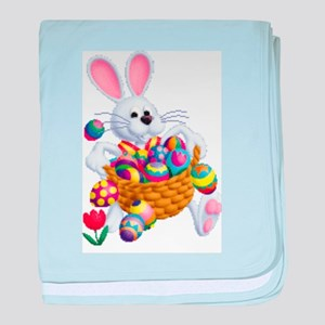 Easter Bunny with Basket of Eggs baby blanket