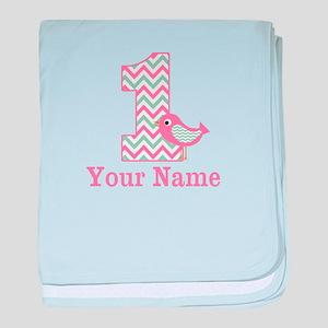 1st Birthday Pink Green Bird baby blanket