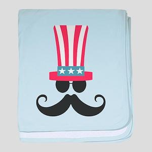 Patriotic Mustache baby blanket