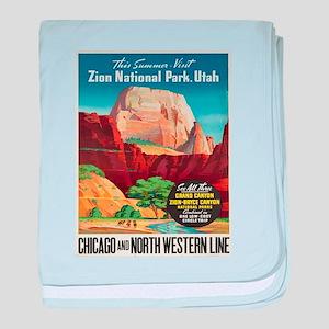 Vintage poster - Zion National Park baby blanket