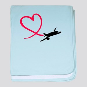 Airplane red heart baby blanket