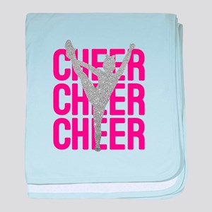 Pink Cheer Glitter Silhouette baby blanket
