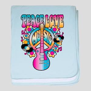 Peace Love & Music baby blanket