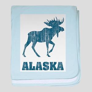 Retro Alaska Moose baby blanket