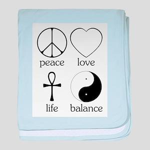 Peace Love Life Balance Infant Blanket