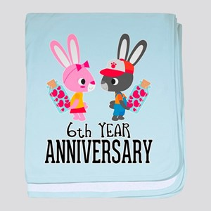 6th Anniversary Couple Bunnies baby blanket