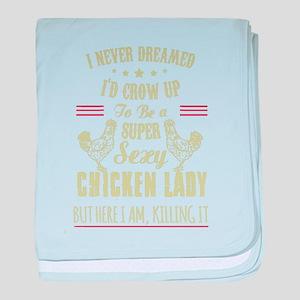 Chicken lady T-shirt baby blanket