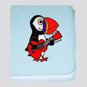 Funny Puffin Bird Playing Guitar baby blanket
