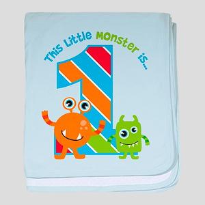 Little Monster 1st Birthday baby blanket