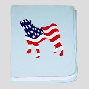 Patriotic Pug - baby blanket