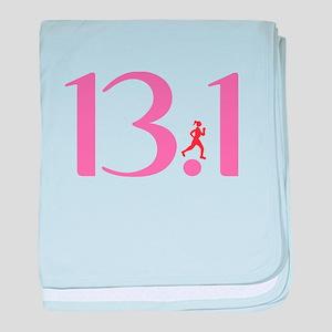 13.1 Half Marathon Runner Girl baby blanket