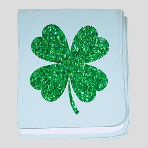 Green Glitter Shamrock st. particks I baby blanket