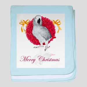 african grey parrot holiday baby blanket