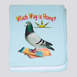 Which Way is Home? Fun Lost Pigeon Ar baby blanket