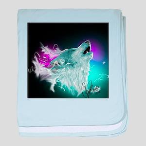 Northern Lights Wolf Spirit baby blanket