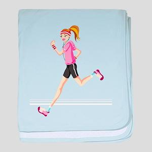 Running sport girl baby blanket