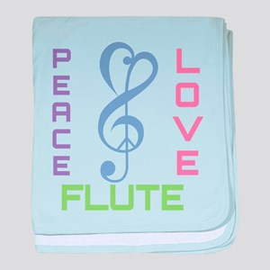 Peace Love Flute Music baby blanket