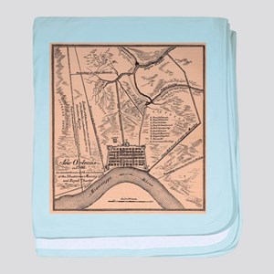 Vintage Map of New Orleans Louisiana baby blanket