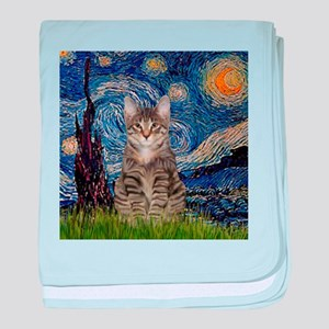Starry Night & Tiger Cat baby blanket