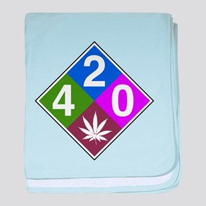 420 caution blue baby blanket