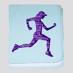 Run Hard baby blanket