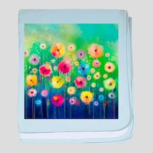 Watercolor Flowers baby blanket