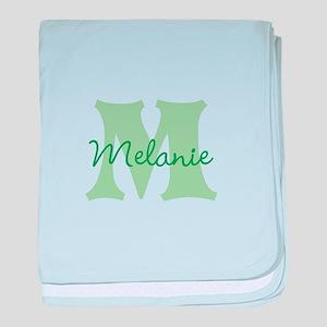 CUSTOM Green Monogram baby blanket