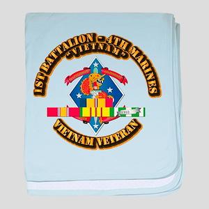 1st Bn - 4th Marines w VN SVC Ribbon baby blanket
