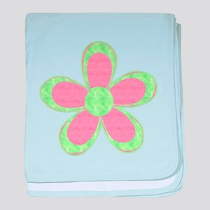 Pink and Green Flowers baby blanket