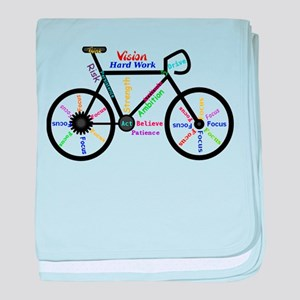Bike made up of words to motivate baby blanket