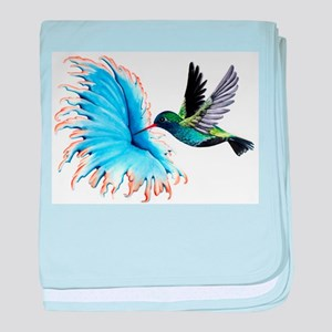 Hummingbird Blue Flower baby blanket